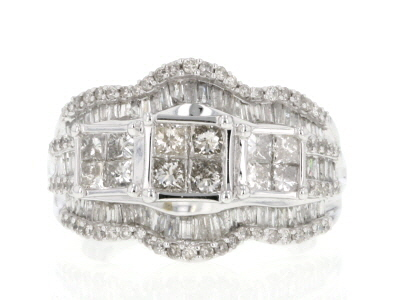 Diamond 2.00ctw Princess Cut, Baguette, & Round 10k White Gold Ring