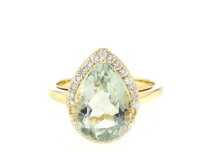 Green prasiolite 18k yellow gold over silver ring 4.64ctw