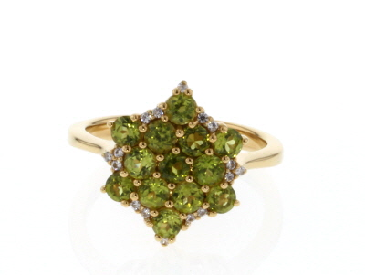 Green vesuvianite 18k yellow gold over sterling silver ring 1.55ctw