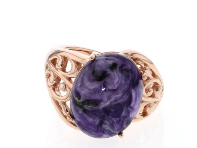 Purple charoite 18k rose gold over silver ring.
