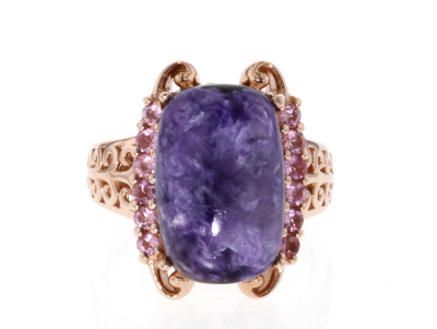 Purple charoite 18k rose gold over silver ring .48ctw