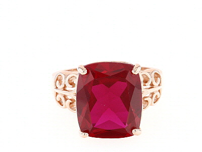 Red lab created ruby 18k rose gold over silver ring 8.20ct