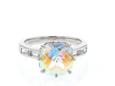 Multicolor Mercury Mist(R) topaz rhodium over silver ring 5.69ctw