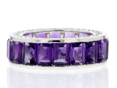 Purple amethyst rhodium over silver eternity band ring 7.25ctw