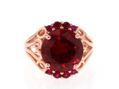 Red lab created ruby 18k rose gold over silver ring 9.34ctw