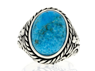 Blue turquoise sterling silver gent's ring
