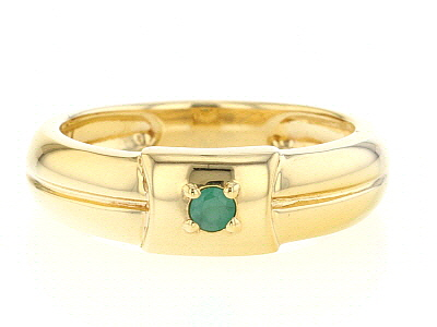 Green emerald 18k gold over sterling silver Mens band ring .07ct