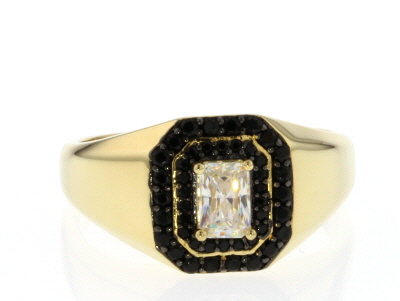 White Fabulite Strontium Titanate And Black Spinel  18k Yellow Gold Over Silver Gents Ring
