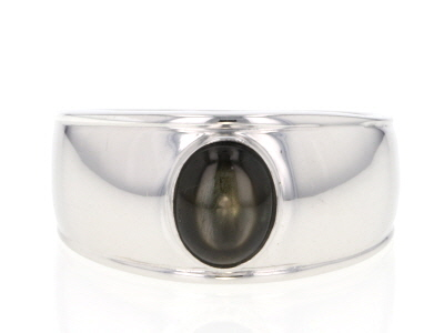 Black star sapphire rhodium over silver solitaire gents ring 1.61ct