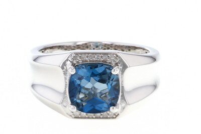 London Blue Topaz Rhodium Over Silver Mens Ring 3.46ctw
