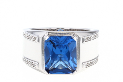 Blue Lab Created Spinel Rhodium Over Silver Mens Ring 5.94ctw