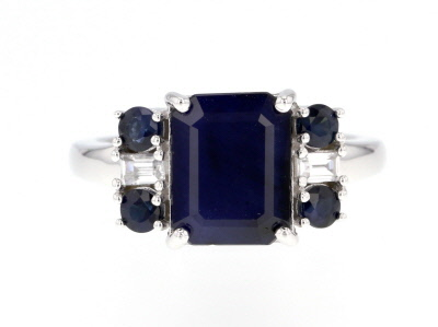 Blue Sapphire Rhodium Over Sterling Silver Ring 3.91ctw.