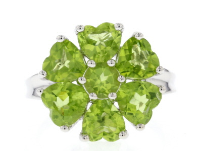 Green Peridot Sterling Silver Ring 5.76ctw