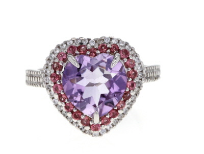 Lavender Amethyst Sterling Silver Heart Ring 3.42ctw