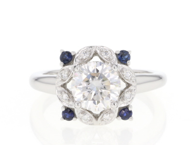 Moissanite And Blue Sapphire Platineve Ring 1.58ctw DEW.