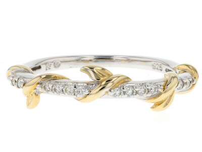 Moissanite Fire® .14ctw DEW Platineve™ And 14k Yellow Gold Accent Over Platineve Ring