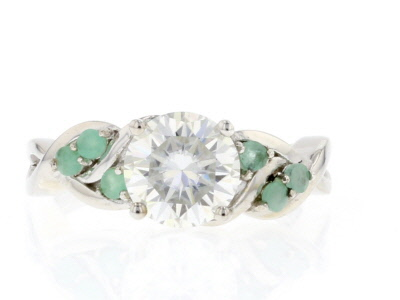 Moissanite And Zambian Emerald Platineve Ring 1.90ct DEW.