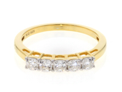 Moissanite 14k Yellow Gold Over Silver Ring .65ctw D.E.W