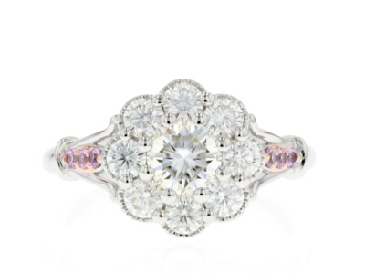 Moissanite Fire® 1.40ctw DEW And .11ctw Pink Sapphire Platineve™ Two Tone Ring