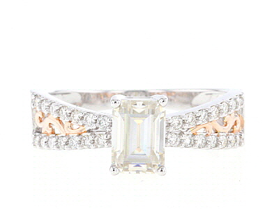 Moissanite  Platineve™ with 14k rose gold over platineve ring 1.29ctw DEW