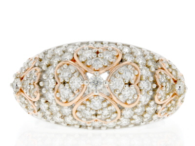 Moissanite Platineve And 14k Rose Gold Over Platineve Ring 1.25ctw DEW