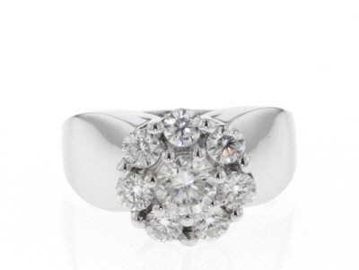 Moissanite Platineve Ring 2.21ctw DEW.
