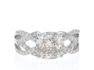 Moissanite Platineve Ring 3.72ctw DEW