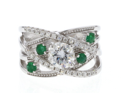 Moissanite And Emerald Platineve Ring 1.28ctw DEW