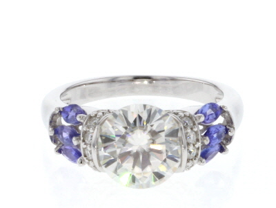 Moissanite And Tanzanite Platineve Ring 3.10ctw DEW.