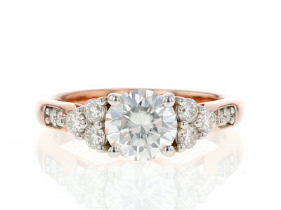 Moissanite 14K Rose Gold Over Silver Ring 1.64ctw DEW
