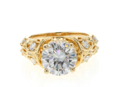 Moissanite 14k Yellow Gold Over Silver Ring 3.98ctw DEW.