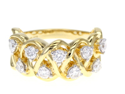 Moissanite 14k Yellow Gold Over Silver Ring .90ctw DEW