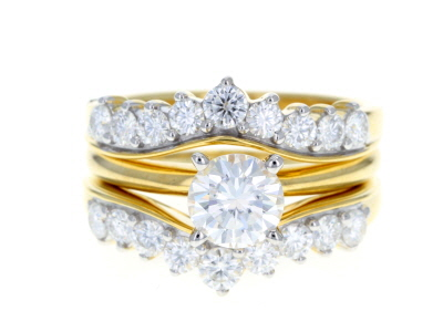 Moissanite 14k Yellow Gold Over Silver Ring With Guard 2.16ctw DEW.