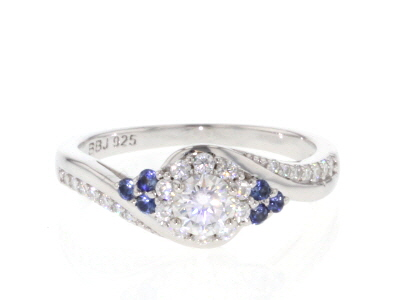 Moissanite and blue sapphire Platineve ring .67ctw DEW.
