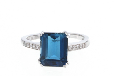 London Blue Topaz Rhodium Over Silver Ring 3.55ctw