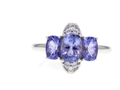 Blue tanzanite 10k White Gold Ring 1.94ctw
