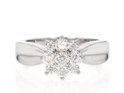 Moissanite Platineve™ ring .70ctw DEW
