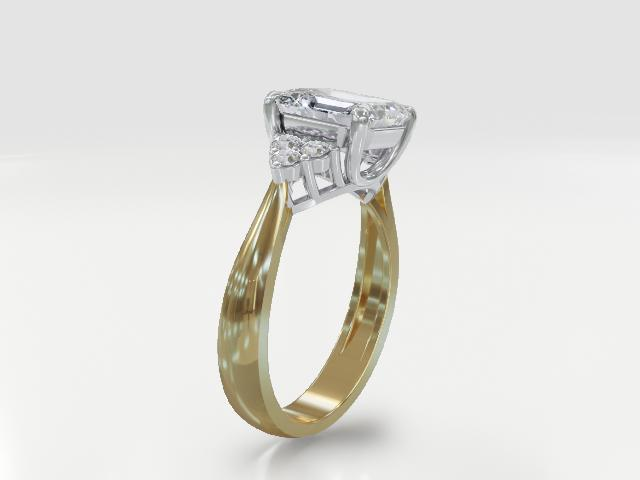 Moissanite 14k yellow gold ring 3.14ctw DEW