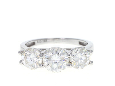 Moissanite 14k White Gold Ring 2.80ctw D.E.W