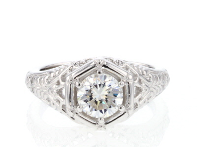 Moissanite Fire® 1.00ct Diamond Equivalent Weight Round Platineve™ Ring