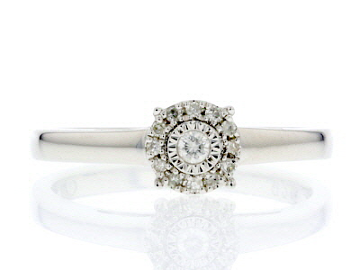 White Diamond Rhodium Over Sterling Silver Ring 0.10ctw