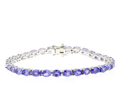 Blue tanzanite rhodium over sterling silver tennis bracelet 9.82ctw