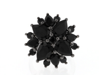 Black Spinel Rhodium Over Sterling Silver Ring 6.89ctw