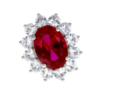 Red Lab Created Ruby Sterling Silver Ring 9.76ctw