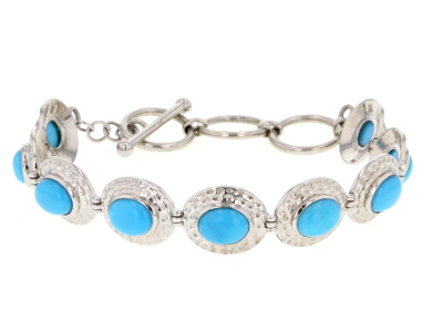 Blue Turquoise Sterling Silver Toggle Bracelet