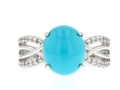 Blue Turquoise Rhodium Over Sterling Silver Ring .28ctw