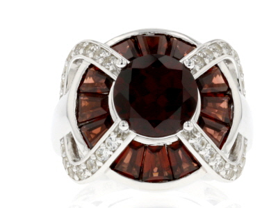 Red Garnet Rhodium Over Sterling Silver Ring 5.60ctw