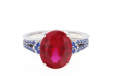 Red Lab Created Ruby Rhodium Over Silver Ring 6.07ctw