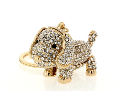 Gold Tone White Crystal Puppy Key Chain