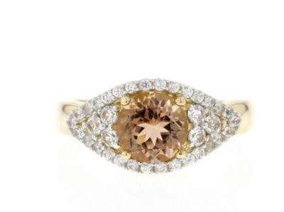 Red Oregon Sunstone 10K yellow gold ring 2.07ctw